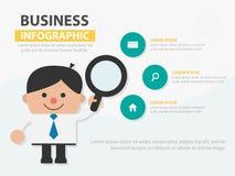 Шарж бизнесмена держа templat лупы infographic стоковая фотография