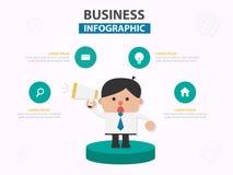 Шарж бизнесмена с дизайном f шаблона мегафона infographic стоковое фото rf