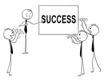 Шарж бизнесменов аплодируя к диктору указывая на знак успеха иллюстрация вектора