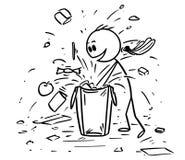 Шарж Больн-манерного ребенка или мальчика Messing вверх хозяйственная сумка пока ищущ подарок или конфета иллюстрация вектора