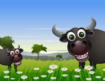 Шарж буйвола с предпосылкой природы иллюстрация штока