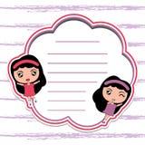 Шарж бумаги карточки памятки с милыми девушками на красной рамке соответствующей для открытки ребенк иллюстрация вектора