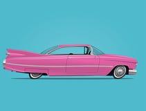 Шарж ввел иллюстрацию в моду вектора винтажного розового автомобиля Стоковая Фотография RF