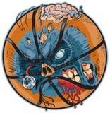 Шарж вектора баскетбола зомби Стоковые Изображения
