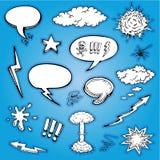 Шарж вектора и собрание пузырей нарисованные рукой Стоковая Фотография RF