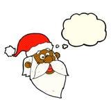 шарж весёлый Санта Клаус смотрит на с пузырем мысли Стоковые Изображения