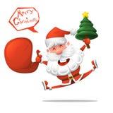 шарж Весёлый Санта Клаус с рождественской елкой желает вам с Рождеством Христовым Изолированная иллюстрация вектора вектор изобра иллюстрация вектора