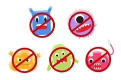 Шарж вируса с вектором круга запрета бесплатная иллюстрация