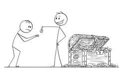 Шарж высокомерных заносчивых человека или бизнесмена давая одну монетку к попрошайке или просителю бесплатная иллюстрация