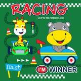 Шарж гоночного автомобиля смешной животный бесплатная иллюстрация