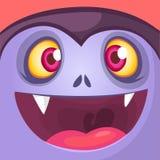Шарж Дракула смотрит на Милое квадратное воплощение или значок ноча луны иллюстрации halloween стоковое фото rf