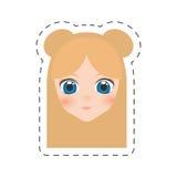 шарж девушки стороны аниме - линия отрезка бесплатная иллюстрация