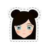 шарж девушки стороны аниме - линия отрезка иллюстрация штока