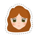 шарж девушки стороны аниме - линия отрезка иллюстрация вектора