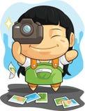 Шарж девушки любит фотографию иллюстрация штока