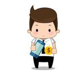 Шарж денег бизнесмена Стоковые Изображения RF