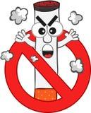 Шарж запрета на курение иллюстрация штока