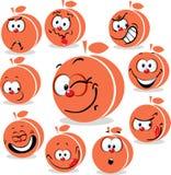 Шарж значка персика или абрикоса с смешными сторонами иллюстрация штока