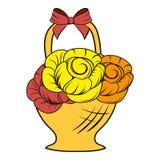 Шарж значка цветков корзины Стоковое Фото