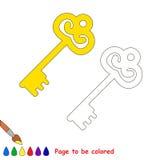 Шарж золотого ключа Страница, который нужно покрасить Стоковые Фото