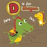 Шарж играть с семьей дракона иллюстрация вектора