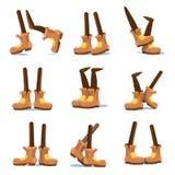 Шарж идя, бегущ, стоя ноги характеров с ногами в комплекте вектора ботинок Стоковые Изображения