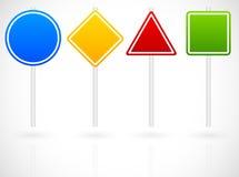 Шарж как комплект различных дорожных знаков Круг, квадрат, треугольник иллюстрация вектора