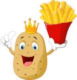 Шарж картошки шеф-повара короля держа француза жарит бесплатная иллюстрация