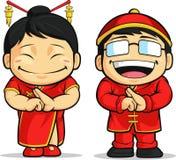 Шарж китайских мальчика & девушки Стоковое фото RF