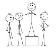 Шарж команды и индивидуала дела требуя незаслуженный кредит бесплатная иллюстрация