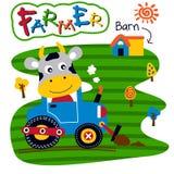 Шарж коровы и трактора смешной животный, иллюстрация вектора стоковые изображения rf