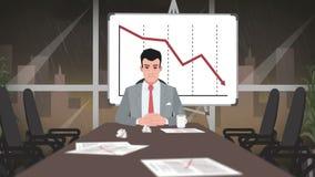 Шарж корпоративный/бизнесмен в глубоком кризисе сток-видео