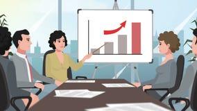 Шарж корпоративный/женщина показывает увеличивая диаграмму диаграммы акции видеоматериалы