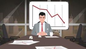 Шарж корпоративный/предприниматель смотря на кризис акции видеоматериалы