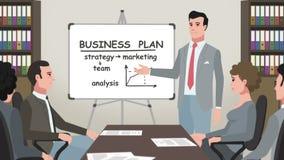 Шарж корпоративный/человек представляет бизнес-план акции видеоматериалы