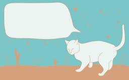 Шарж кота с текстовым полем Стоковое фото RF