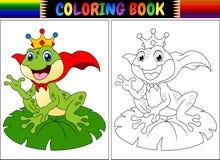 Шарж лягушки короля книжка-раскраски иллюстрация штока