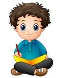 Шарж мальчика писать книгу Стоковая Фотография RF