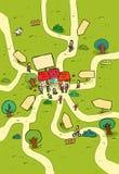 шарж меньший городок карты Стоковое Изображение