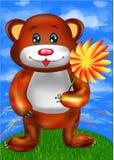 Шарж медведя Брайна милый с цветком Стоковые Изображения