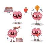 Шарж мозга установил с стеклами и книгами и яблоком и электрической лампочкой в белой предпосылке иллюстрация вектора