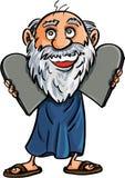 Шарж Моисей с 10 заповедями Стоковое Изображение