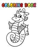 Шарж морского конька книжка-раскраски Стоковое Изображение