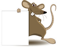 Шарж мыши с пустым знаком иллюстрация вектора
