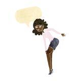 шарж надоел колено затирания женщины с пузырем речи Стоковые Изображения RF