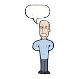шарж надоел лысеющего человека с пузырем речи Стоковые Фото
