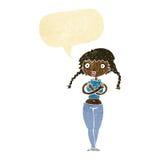 шарж обидел заволакивание себя женщины с пузырем речи Стоковые Изображения RF