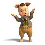 шарж одевает милую свинью бесплатная иллюстрация