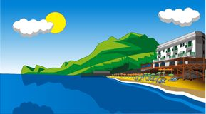 шарж пляжа предпосылки Стоковые Изображения