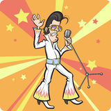 Шарж поя ретро рок-звезду Стоковые Фото